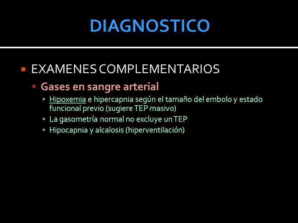 EXAMENES COMPLEMENTARIOS Gases en sangre arterial Hipoxemia e hipercapnia según el tamaño del embolo y estado funcional previo (sugiere TEP masivo) La