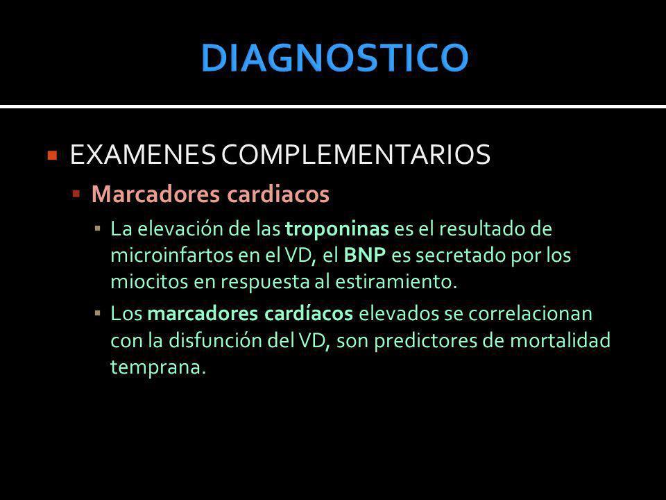EXAMENES COMPLEMENTARIOS Marcadores cardiacos La elevación de las troponinas es el resultado de microinfartos en el VD, el BNP es secretado por los mi