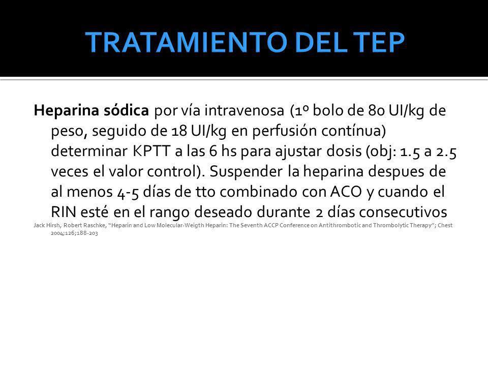 Heparina sódica por vía intravenosa (1º bolo de 80 UI/kg de peso, seguido de 18 UI/kg en perfusión contínua) determinar KPTT a las 6 hs para ajustar d
