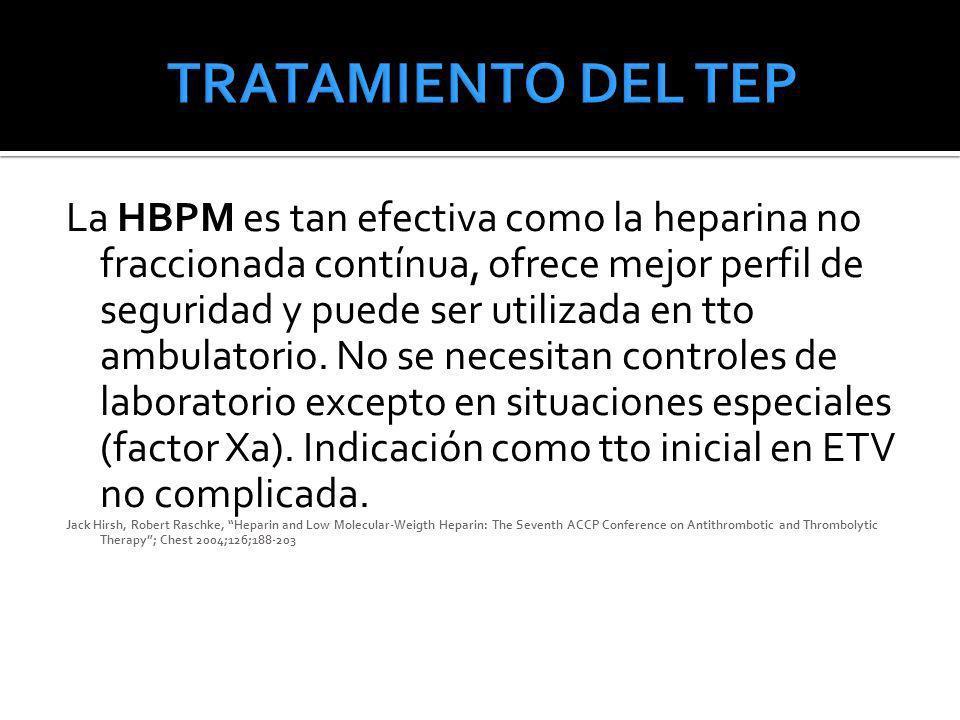 La HBPM es tan efectiva como la heparina no fraccionada contínua, ofrece mejor perfil de seguridad y puede ser utilizada en tto ambulatorio. No se nec