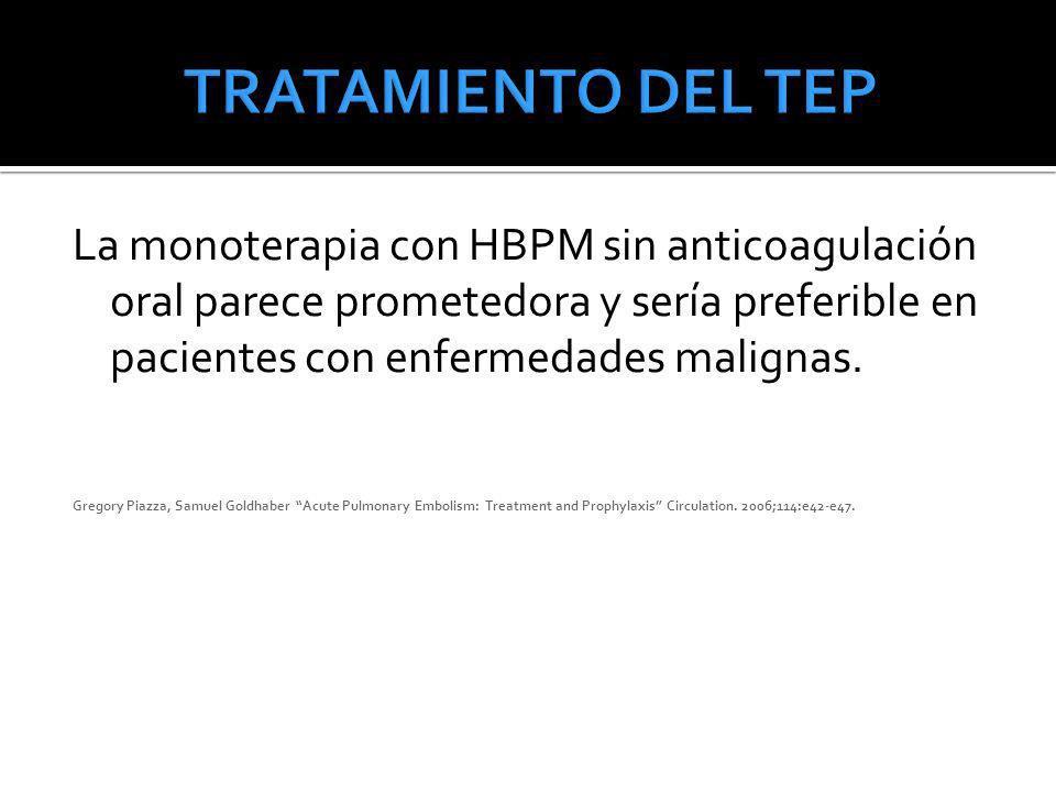 La monoterapia con HBPM sin anticoagulación oral parece prometedora y sería preferible en pacientes con enfermedades malignas. Gregory Piazza, Samuel
