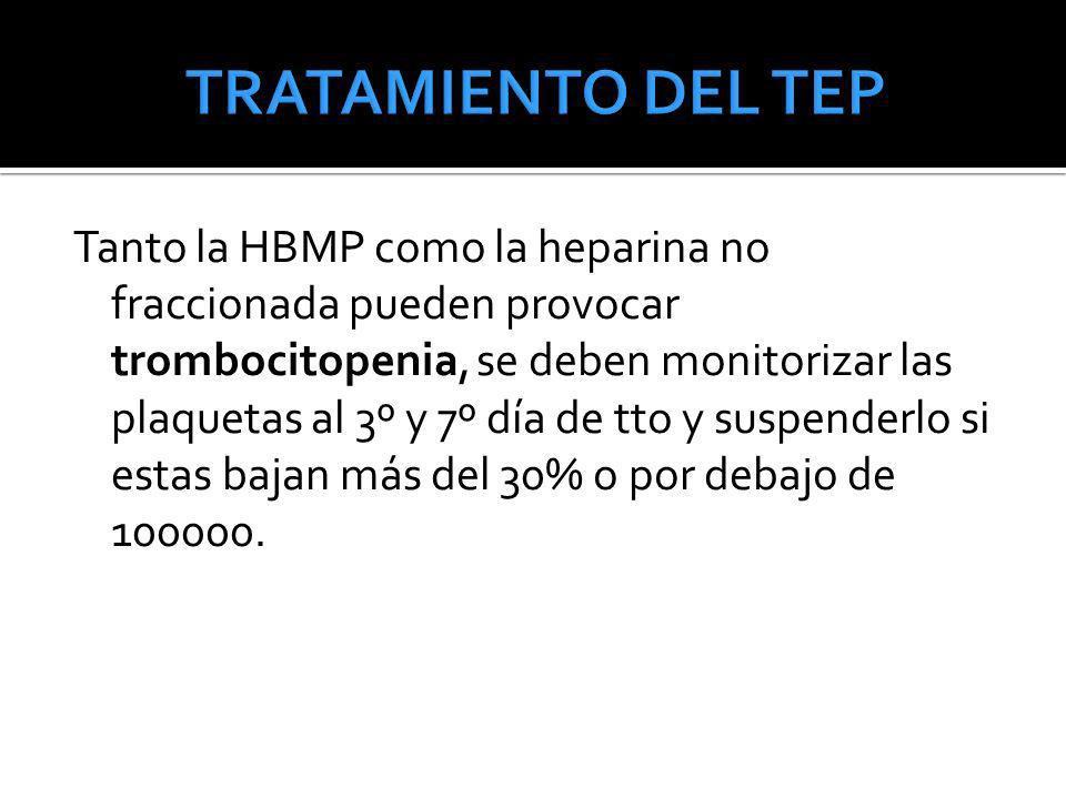 Tanto la HBMP como la heparina no fraccionada pueden provocar trombocitopenia, se deben monitorizar las plaquetas al 3º y 7º día de tto y suspenderlo
