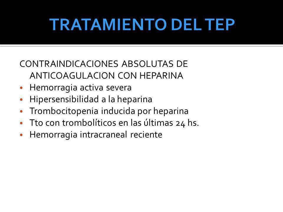 CONTRAINDICACIONES ABSOLUTAS DE ANTICOAGULACION CON HEPARINA Hemorragia activa severa Hipersensibilidad a la heparina Trombocitopenia inducida por hep