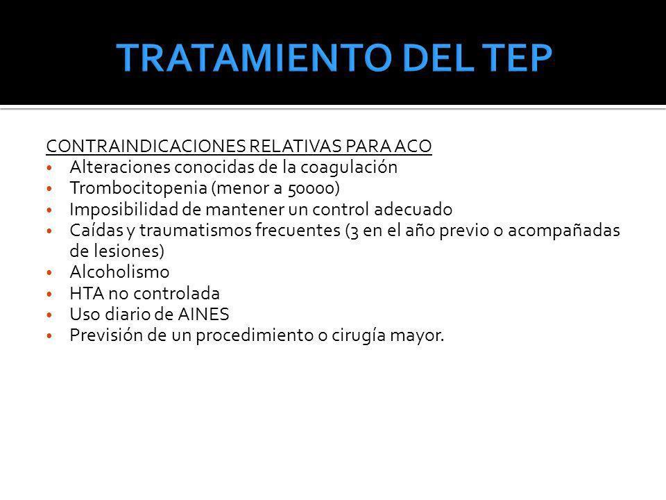 CONTRAINDICACIONES RELATIVAS PARA ACO Alteraciones conocidas de la coagulación Trombocitopenia (menor a 50000) Imposibilidad de mantener un control ad