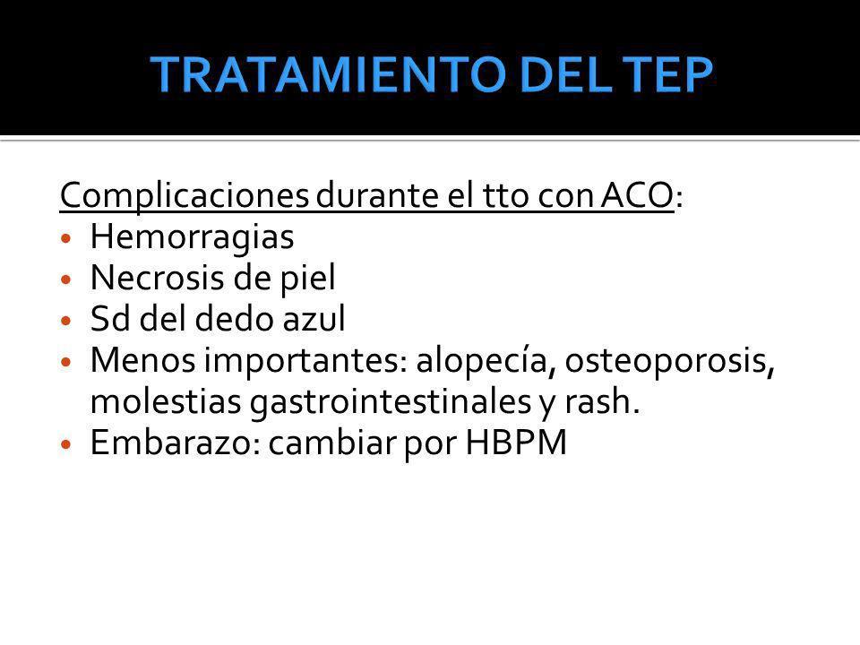 Complicaciones durante el tto con ACO: Hemorragias Necrosis de piel Sd del dedo azul Menos importantes: alopecía, osteoporosis, molestias gastrointest