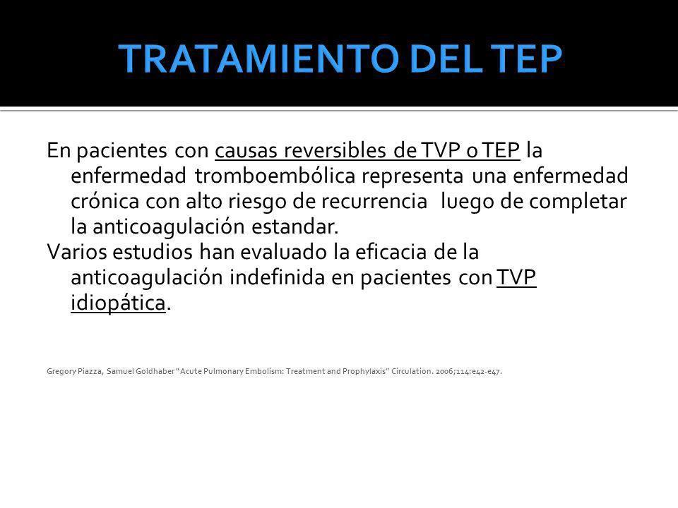 En pacientes con causas reversibles de TVP o TEP la enfermedad tromboembólica representa una enfermedad crónica con alto riesgo de recurrencia luego d