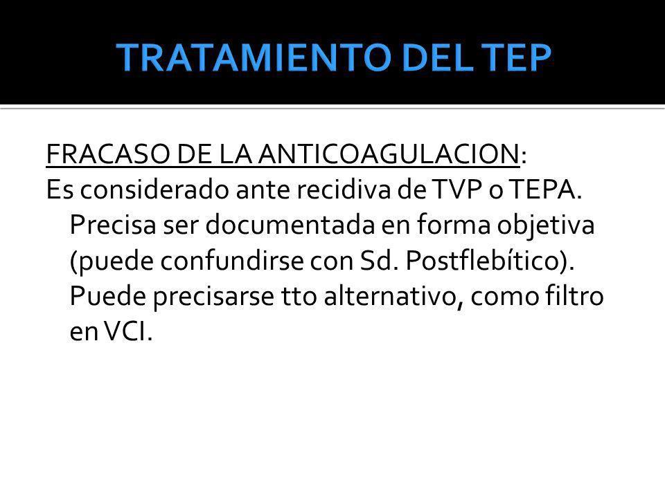 FRACASO DE LA ANTICOAGULACION: Es considerado ante recidiva de TVP o TEPA. Precisa ser documentada en forma objetiva (puede confundirse con Sd. Postfl