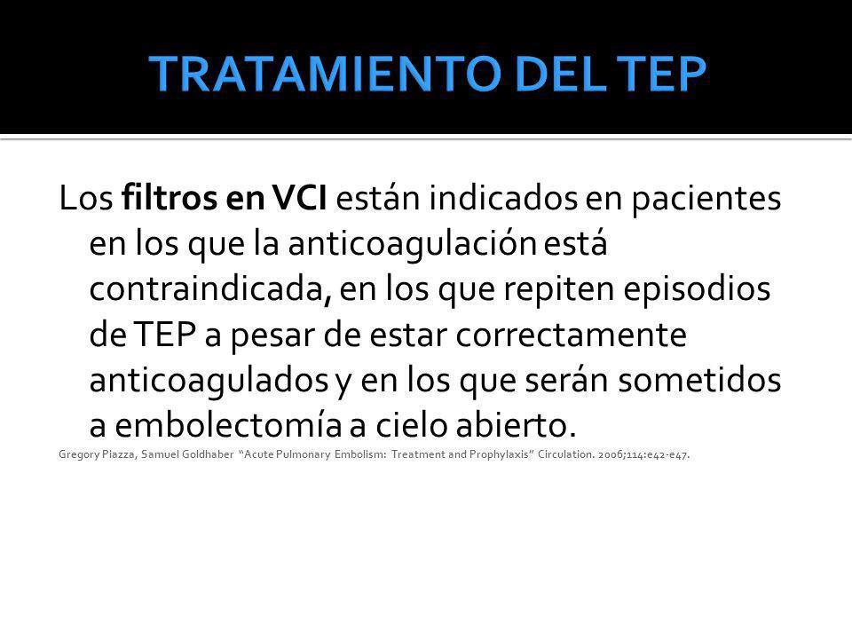 Los filtros en VCI están indicados en pacientes en los que la anticoagulación está contraindicada, en los que repiten episodios de TEP a pesar de esta