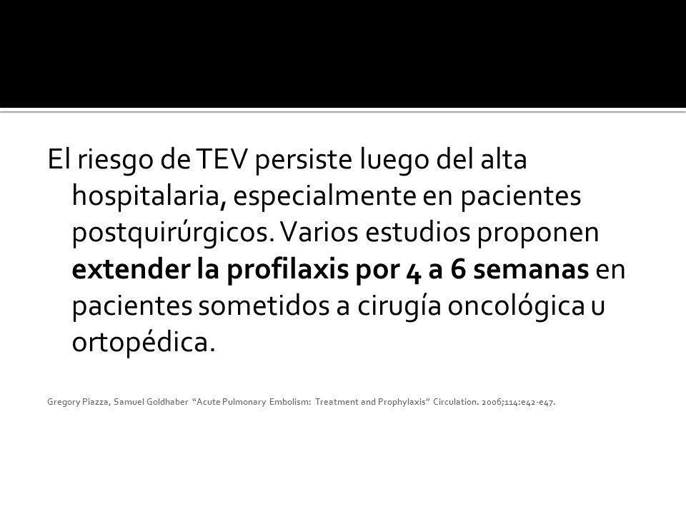 El riesgo de TEV persiste luego del alta hospitalaria, especialmente en pacientes postquirúrgicos. Varios estudios proponen extender la profilaxis por
