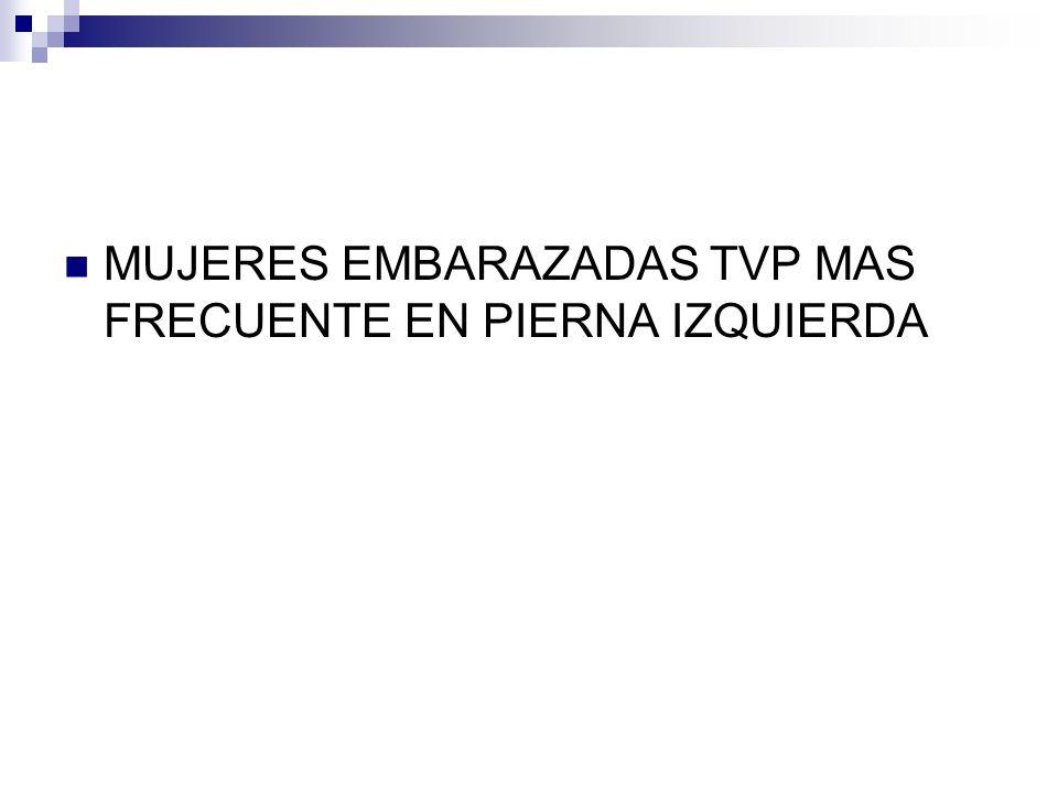MUJERES EMBARAZADAS TVP MAS FRECUENTE EN PIERNA IZQUIERDA