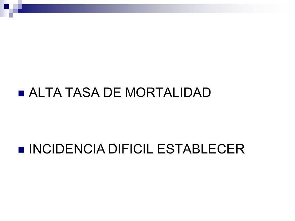 ALTA TASA DE MORTALIDAD INCIDENCIA DIFICIL ESTABLECER