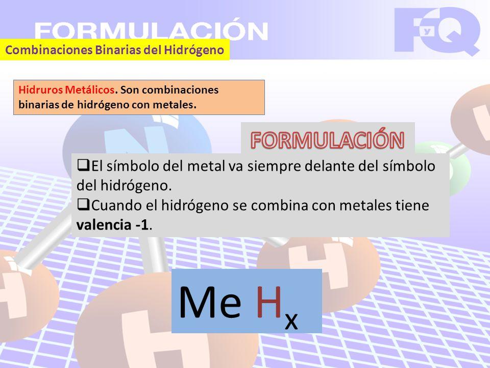 Combinaciones Binarias del Hidrógeno Hidruros Metálicos.