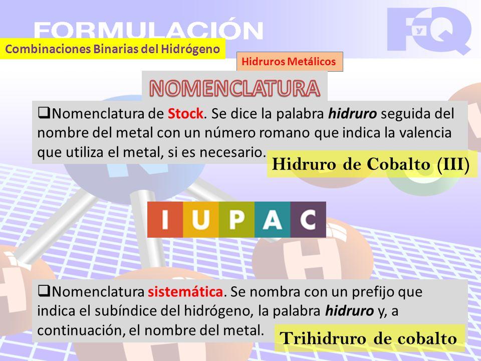 Combinaciones Binarias del Hidrógeno Hidruros Metálicos Nomenclatura de Stock.