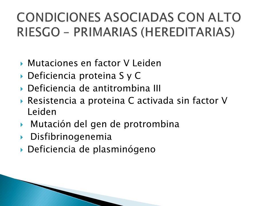 Reposo Prolongado Síndrome Nefrótico IAM Contraconceptivos Cáncer Anemia de células Daño Tisular falciformes (trauma, cirugía, quemaduras) Tabaquismo Válvulas prostésicas Fibrilación auricular CID Cardiomiopatia Sx.