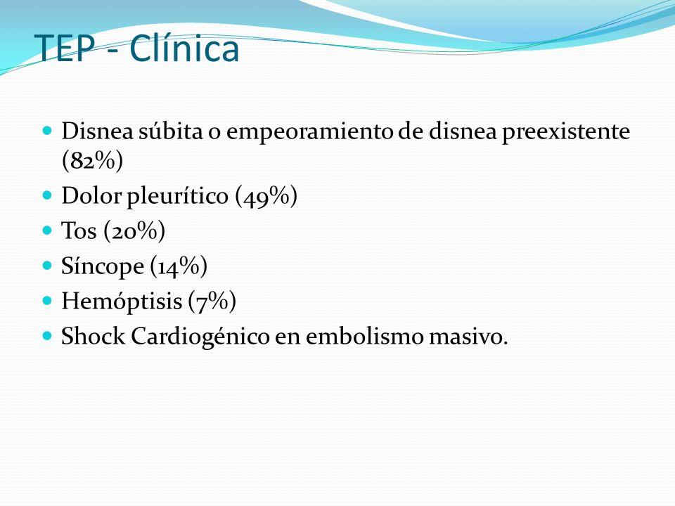 TEP - Clínica Disnea súbita o empeoramiento de disnea preexistente (82%) Dolor pleurítico (49%) Tos (20%) Síncope (14%) Hemóptisis (7%) Shock Cardiogénico en embolismo masivo.