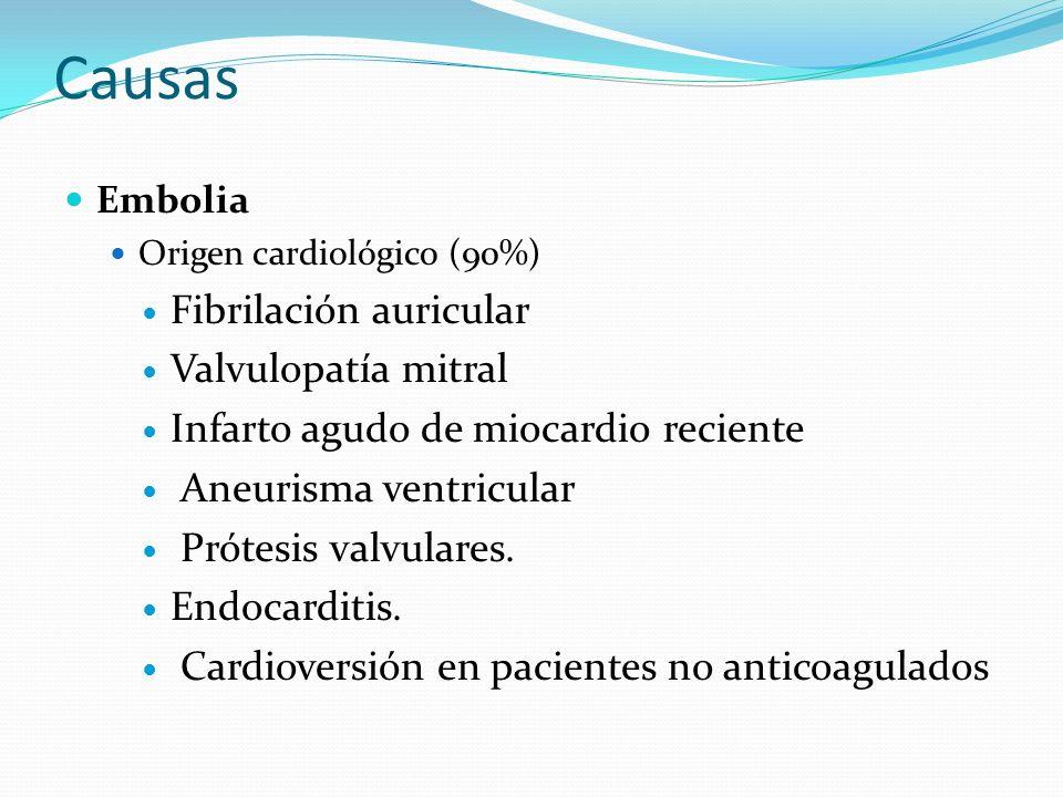 Causas Embolia Origen cardiológico (90%) Fibrilación auricular Valvulopatía mitral Infarto agudo de miocardio reciente Aneurisma ventricular Prótesis valvulares.