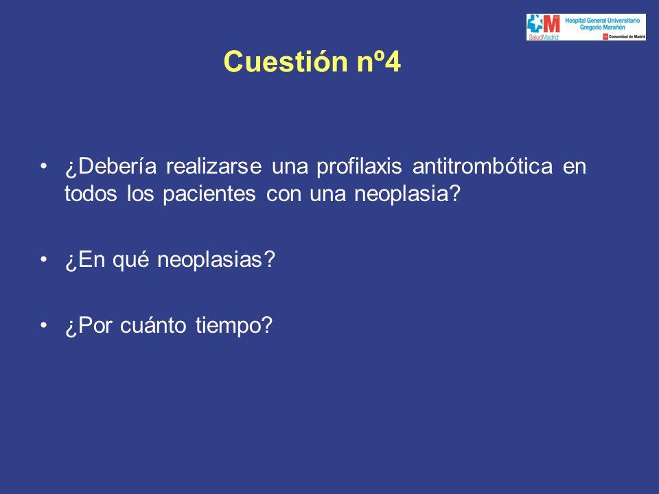 Cuestión nº4 ¿Debería realizarse una profilaxis antitrombótica en todos los pacientes con una neoplasia.