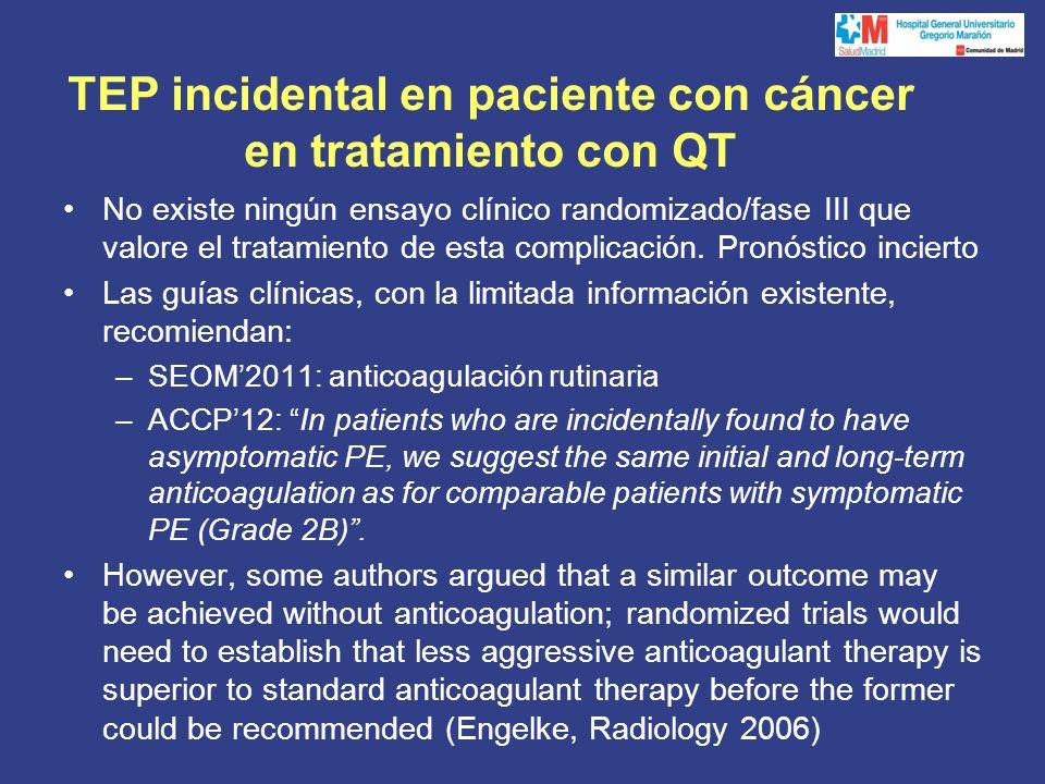 TEP incidental en paciente con cáncer en tratamiento con QT No existe ningún ensayo clínico randomizado/fase III que valore el tratamiento de esta complicación.