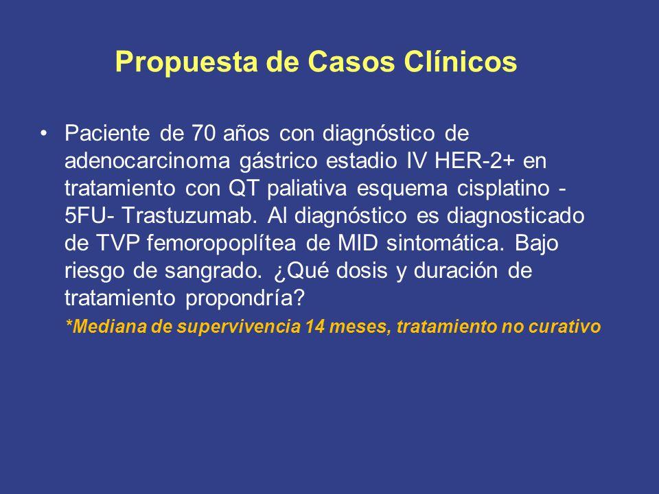 Propuesta de Casos Clínicos Paciente de 70 años con diagnóstico de adenocarcinoma gástrico estadio IV HER-2+ en tratamiento con QT paliativa esquema cisplatino - 5FU- Trastuzumab.