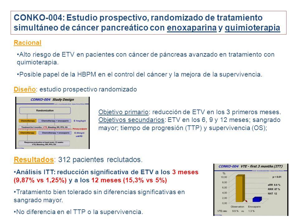 CONKO-004: Estudio prospectivo, randomizado de tratamiento simultáneo de cáncer pancreático con enoxaparina y quimioterapia Racional Alto riesgo de ETV en pacientes con cáncer de páncreas avanzado en tratamiento con quimioterapia.