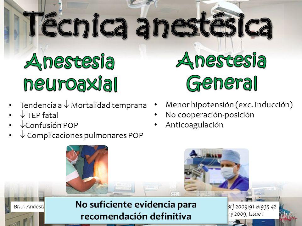 Tendencia a Mortalidad temprana TEP fatal Confusión POP Complicaciones pulmonares POP Menor hipotensión (exc.