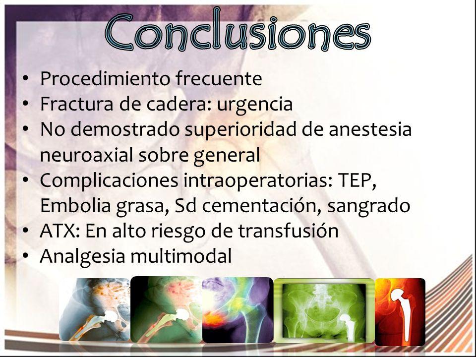 Procedimiento frecuente Fractura de cadera: urgencia No demostrado superioridad de anestesia neuroaxial sobre general Complicaciones intraoperatorias: TEP, Embolia grasa, Sd cementación, sangrado ATX: En alto riesgo de transfusión Analgesia multimodal