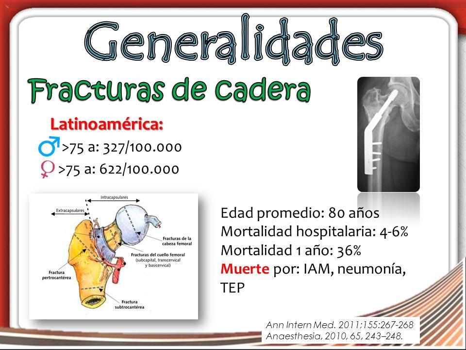 Edad promedio: 80 años Mortalidad hospitalaria: 4-6% Mortalidad 1 año: 36% Muerte por: IAM, neumonía, TEP >75 a: 622/100.000 Latinoamérica: >75 a: 327/100.000 Ann Intern Med.