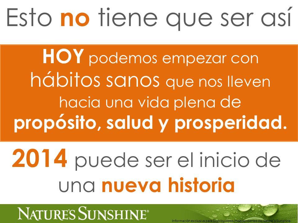 Información exclusiva para Distribuidores Independientes de Nature´s Sunshine.. HOY podemos empezar con hábitos sanos que nos lleven hacia una vida pl