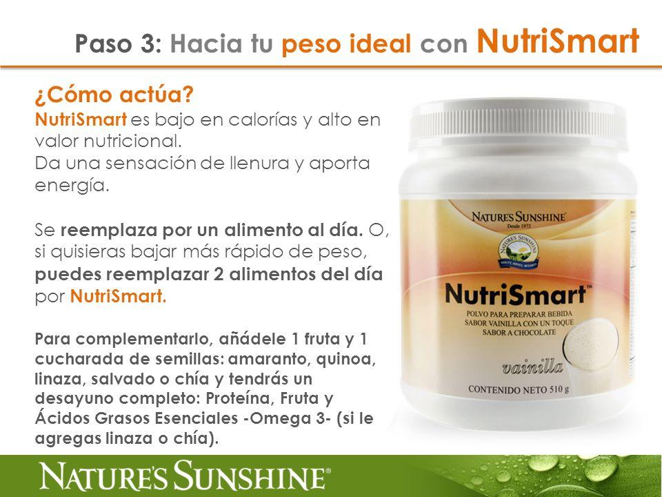 ¿Cómo actúa? NutriSmart es bajo en calorías y alto en valor nutricional. Da una sensación de llenura y aporta energía. Se reemplaza por un alimento al