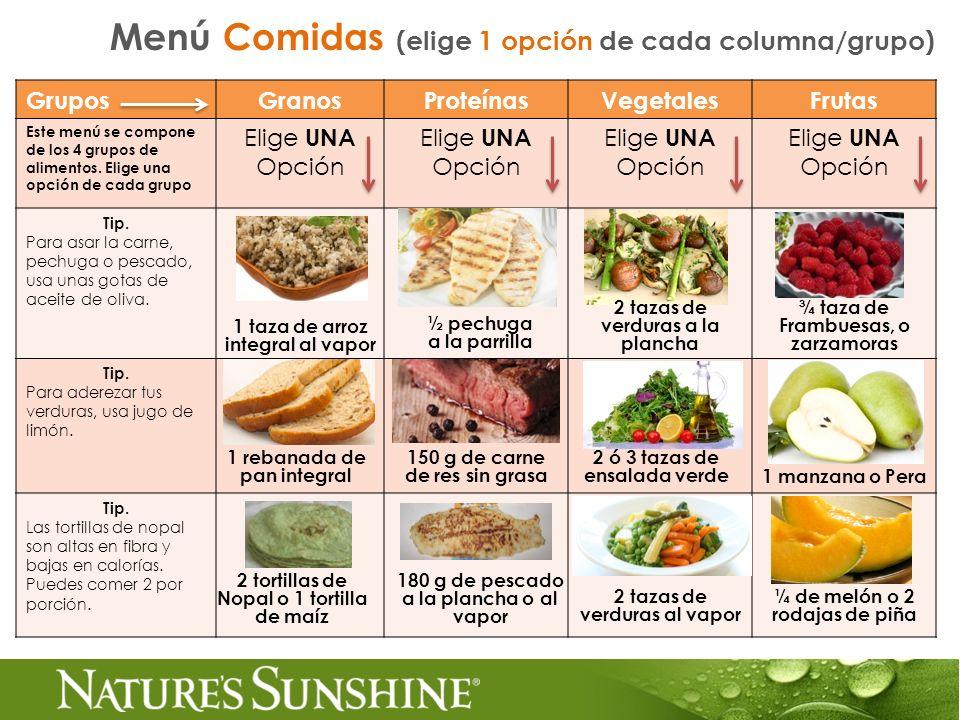 GruposGranosProteínasVegetalesFrutas Este menú se compone de los 4 grupos de alimentos. Elige una opción de cada grupo Elige UNA Opción Tip. Para asar