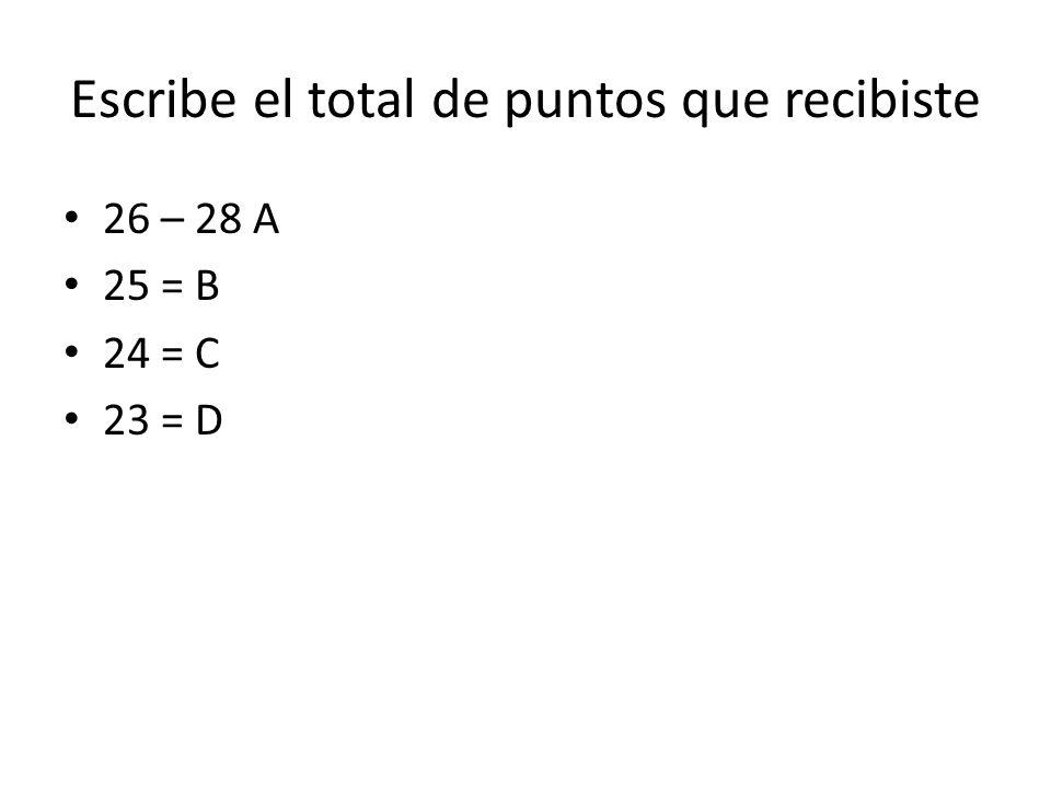 Escribe el total de puntos que recibiste 26 – 28 A 25 = B 24 = C 23 = D