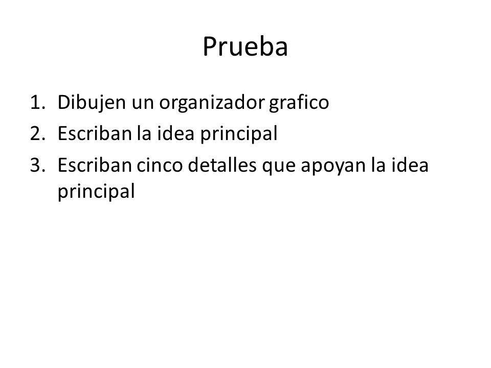 Prueba 1.Dibujen un organizador grafico 2.Escriban la idea principal 3.Escriban cinco detalles que apoyan la idea principal