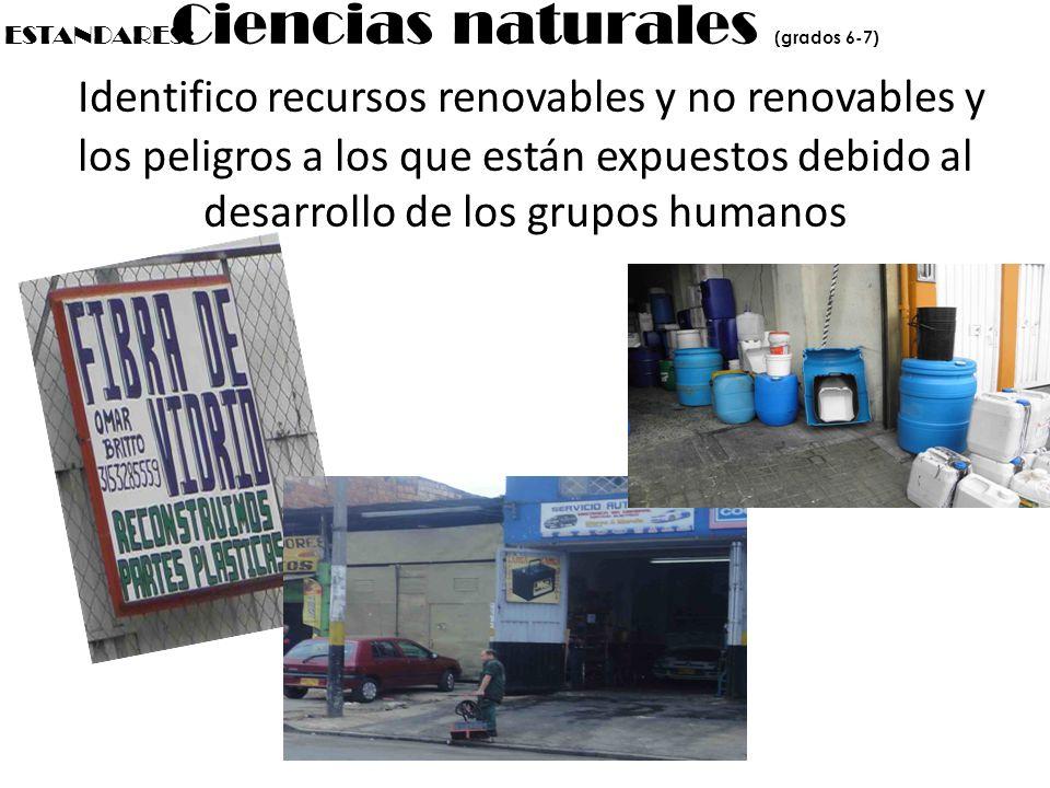 Ciencias naturales (grados 6-7) Identifico recursos renovables y no renovables y los peligros a los que están expuestos debido al desarrollo de los gr