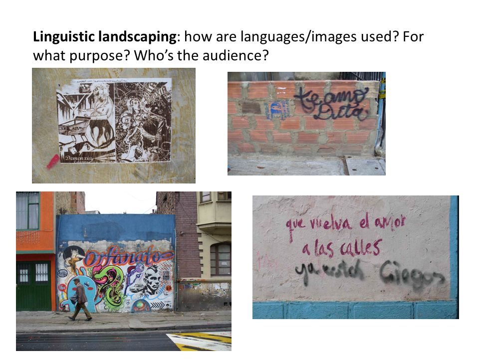 Linguistic landscaping: how are languages/images used For what purpose Whos the audience