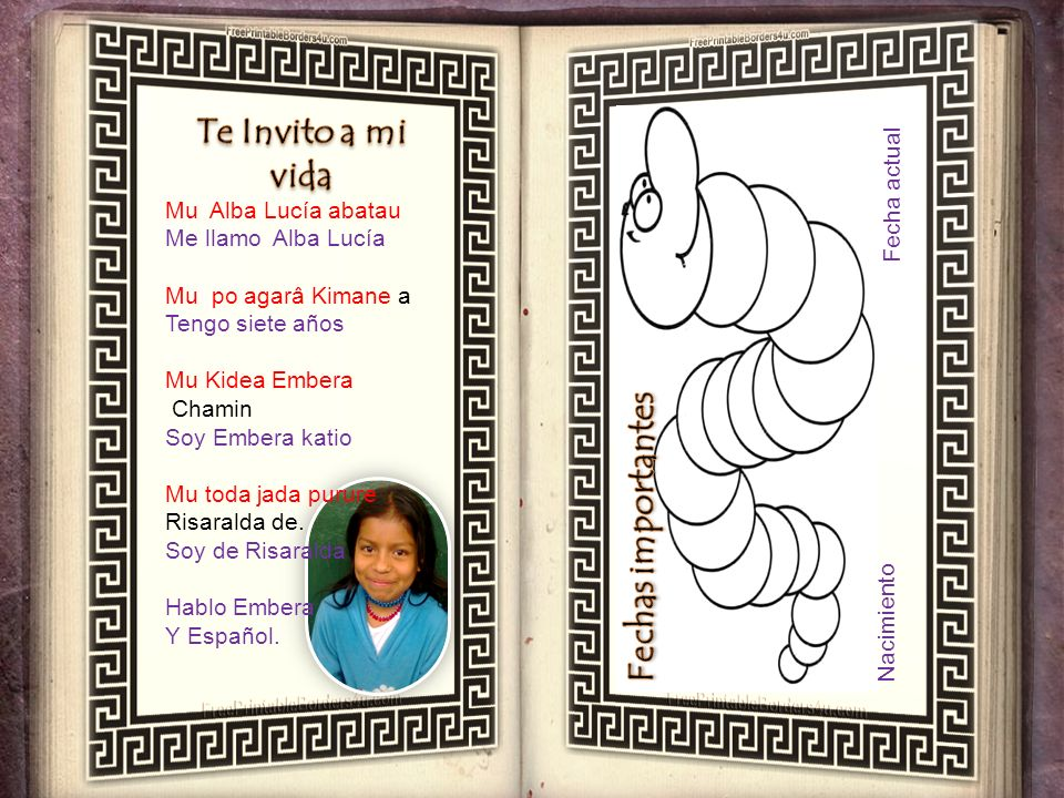 Mu Alba Lucía abatau Me llamo Alba Lucía Mu po agarâ Kimane a Tengo siete años Mu Kidea Embera Chamin Soy Embera katio Mu toda jada purure Risaralda de.