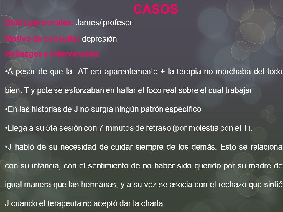 Datos personales: James/ profesor Motivo de consulta : depresión Hallazgos e intervención: A pesar de que la AT era aparentemente + la terapia no marchaba del todo bien.