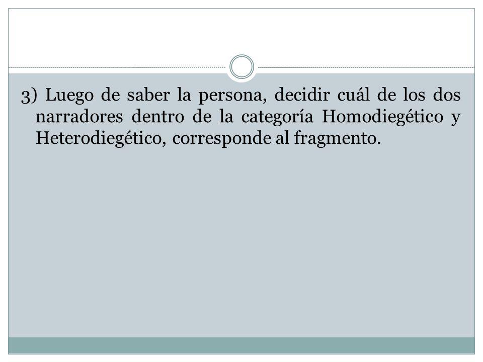 3) Luego de saber la persona, decidir cuál de los dos narradores dentro de la categoría Homodiegético y Heterodiegético, corresponde al fragmento.
