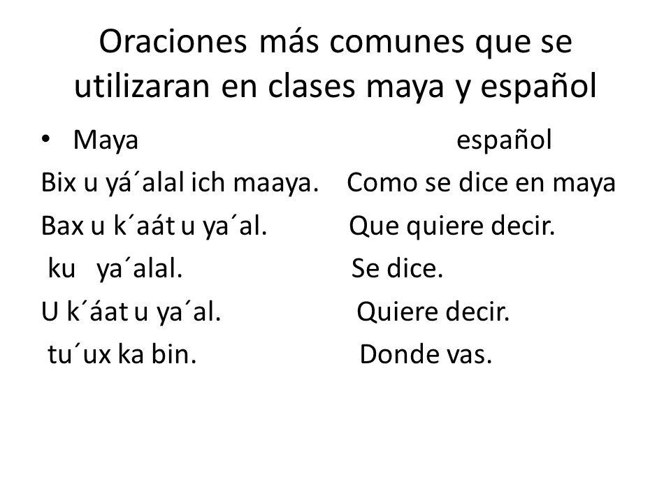 Oraciones más comunes que se utilizaran en clases maya y español Maya español Bix u yá´alal ich maaya. Como se dice en maya Bax u k´aát u ya´al. Que q