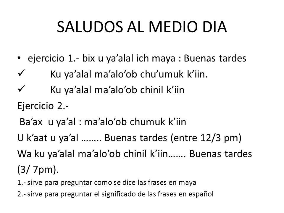 SALUDOS AL MEDIO DIA ejercicio 1.- bix u yaalal ich maya : Buenas tardes Ku yaalal maaloob chuumuk kiin. Ku yaalal maaloob chinil kiin Ejercicio 2.- B