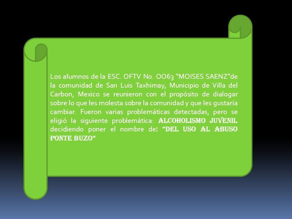 Los alumnos de la ESC. OFTV No. OO63 MOISES SAENZde la comunidad de San Luis Taxhimay, Municipio de Villa del Carbon, Mexico se reunieron con el propó