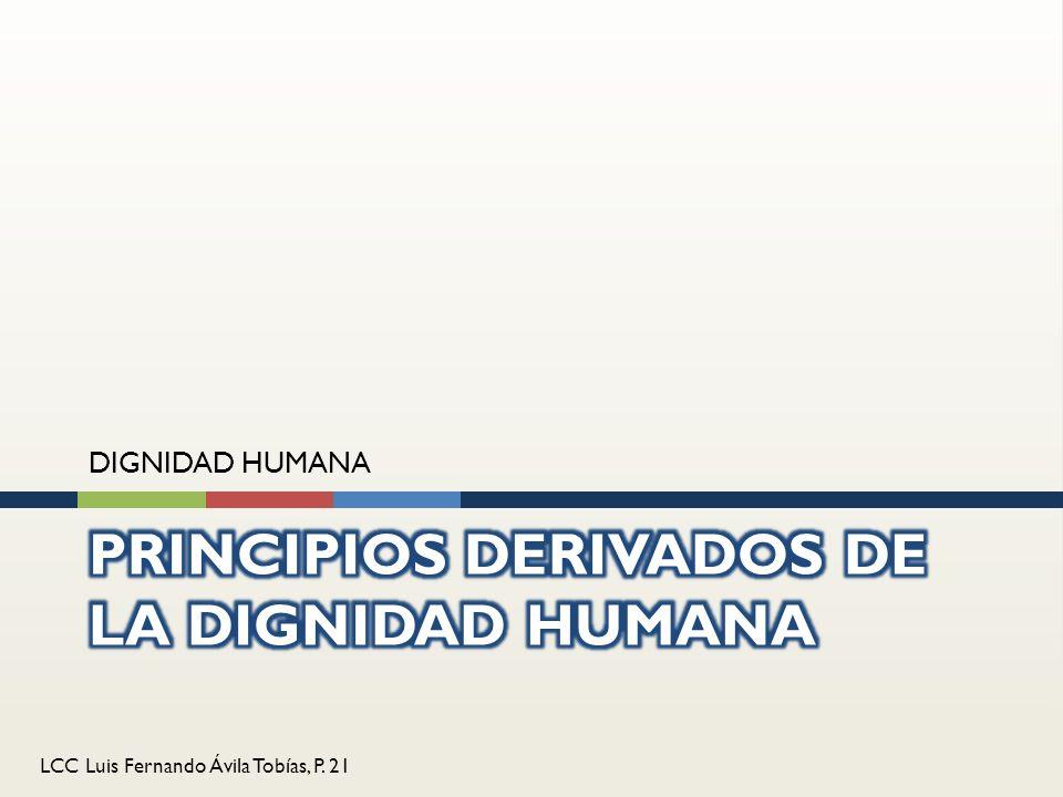LCC Luis Fernando Ávila Tobías, P. 21 DIGNIDAD HUMANA
