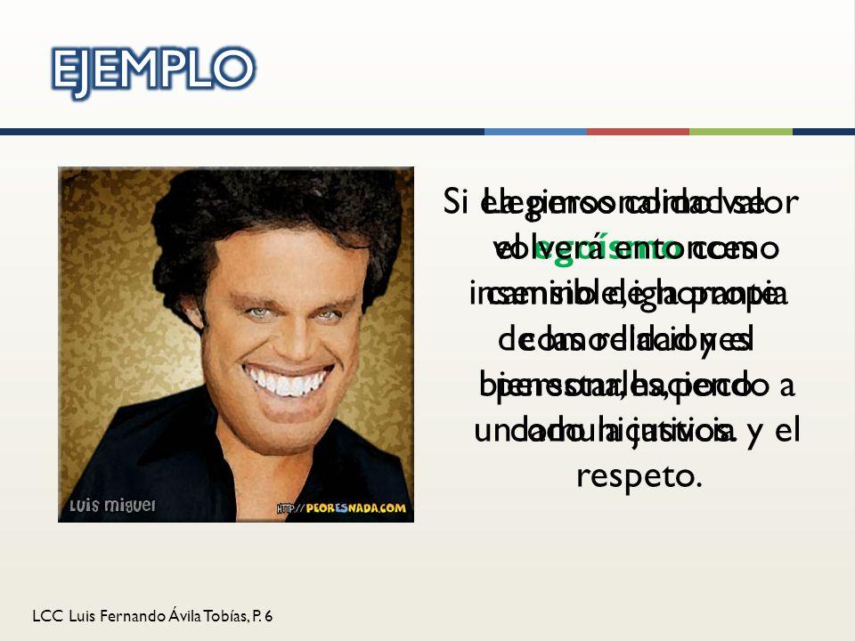 LCC Luis Fernando Ávila Tobías, P. 6 Si elegimos como valor el egoísmo como camino de la propia comodidad y el bienestar, haciendo a un lado la justic