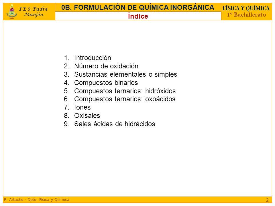 1.Introducción 2.Número de oxidación 3.Sustancias elementales o simples 4.Compuestos binarios 5.Compuestos ternarios: hidróxidos 6.Compuestos ternario