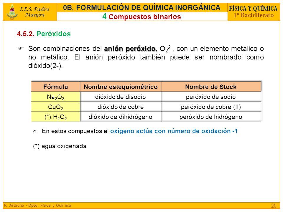 4.5.2. Peróxidos anión peróxido Son combinaciones del anión peróxido, O 2 2-, con un elemento metálico o no metálico. El anión peróxido también puede