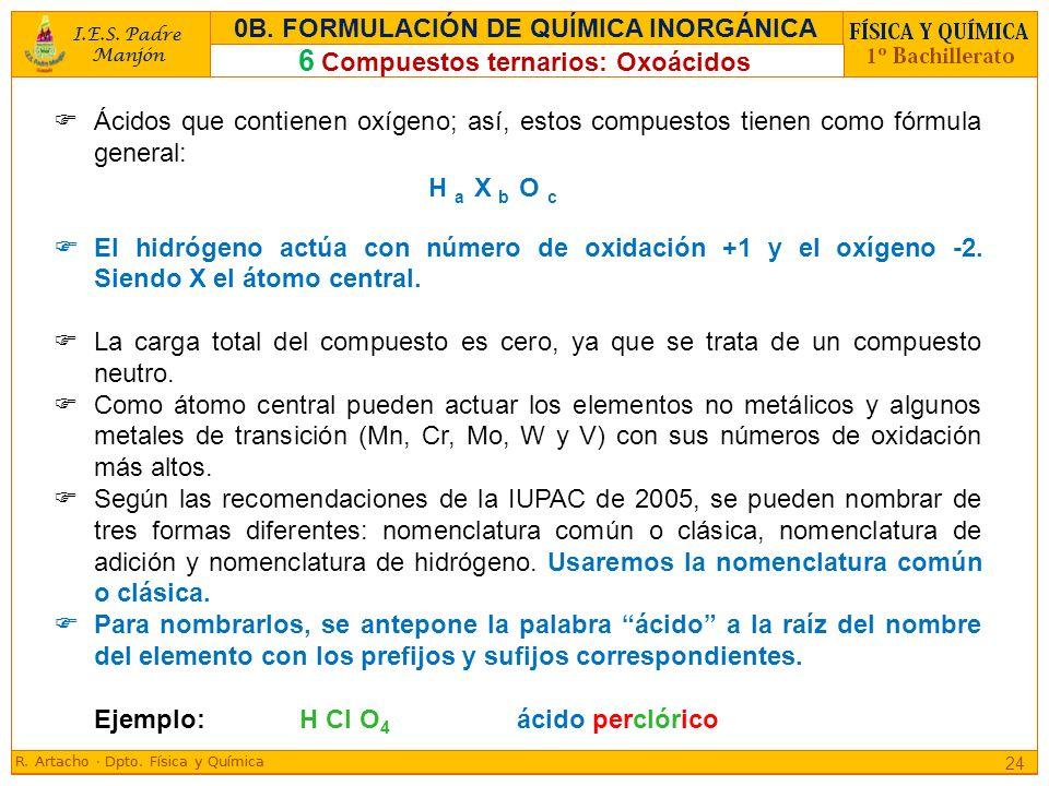 Ácidos que contienen oxígeno; así, estos compuestos tienen como fórmula general: El hidrógeno actúa con número de oxidación +1 y el oxígeno -2. Siendo