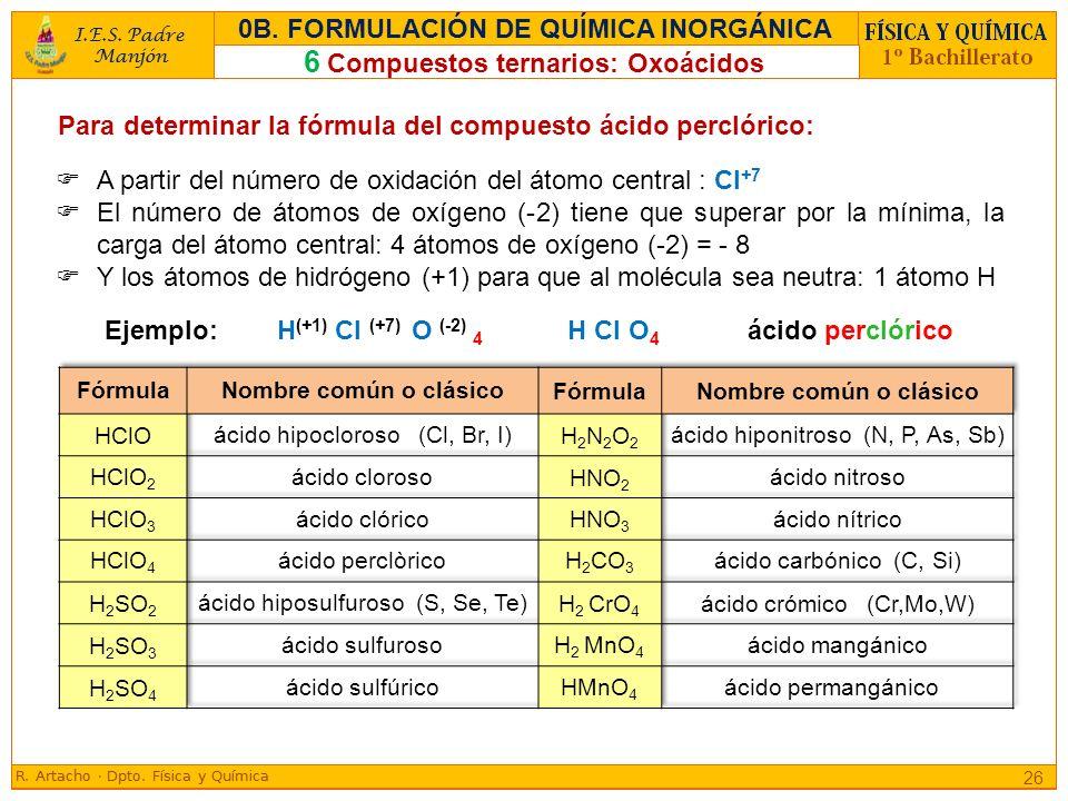 Para determinar la fórmula del compuesto ácido perclórico: Ejemplo: H (+1) Cl (+7) O (-2) 4 H Cl O 4 ácido perclórico 26 6 Compuestos ternarios: Oxoác
