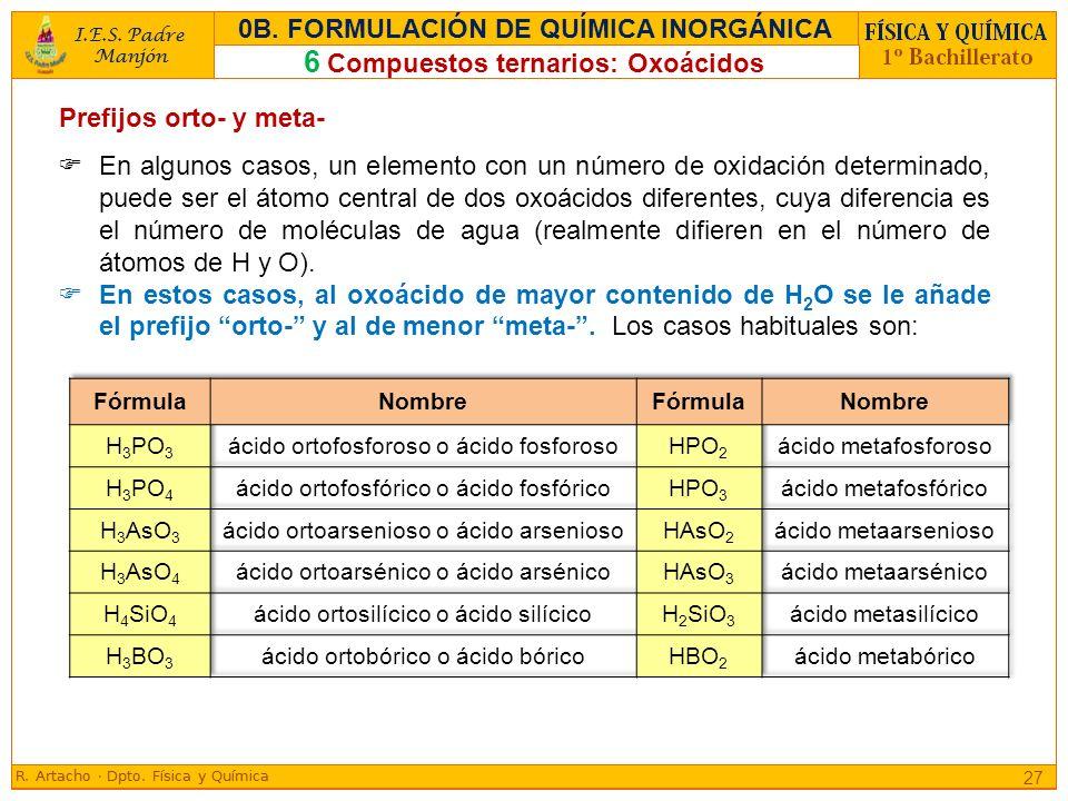 Prefijos orto- y meta- En algunos casos, un elemento con un número de oxidación determinado, puede ser el átomo central de dos oxoácidos diferentes, c