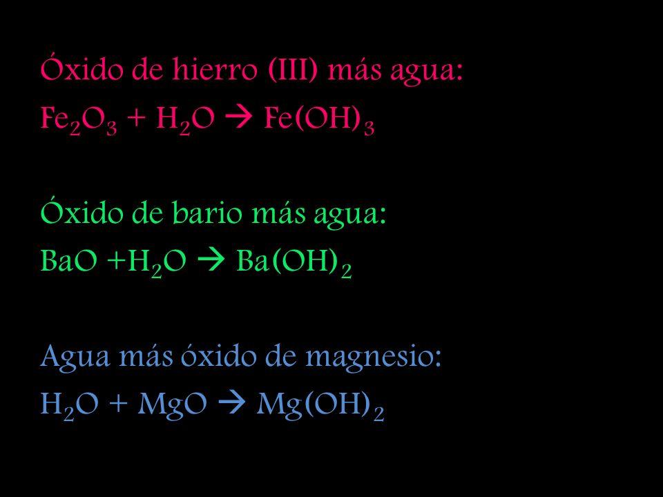 Óxido de litio más agua: Li 2 O + H 2 O LiOH Óxido de sodio más agua: Na 2 O + H 2 O NaOH Óxido de hierro (II) más agua: FeO + H 2 O Fe(OH) 2