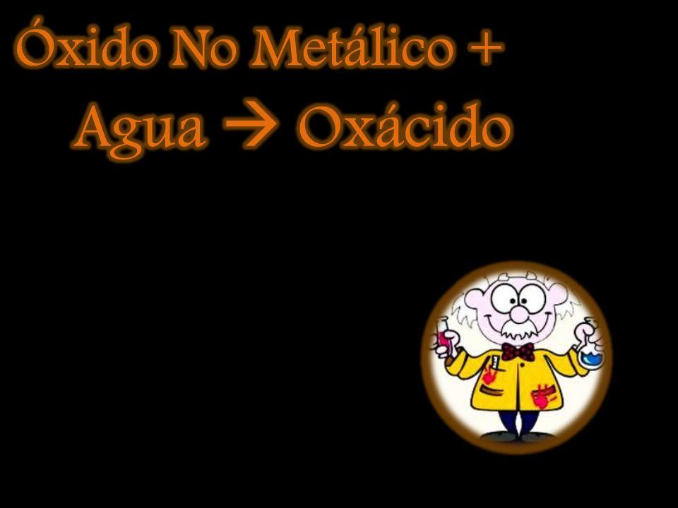 Óxido de hierro (III) más agua: Fe 2 O 3 + H 2 O Fe(OH) 3 Óxido de bario más agua: BaO +H 2 O Ba(OH) 2 Agua más óxido de magnesio: H 2 O + MgO Mg(OH)