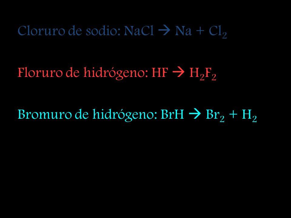 Agua: H 2 O H + O 2 Peróxido de hidrógeno: H 2 O 2 H 2 + O 2 Amoniaco: NH 3 N 2 + H 2 Metano: CH 4 C + H 2 Cloruro de potasio: KCl K + Cl 2